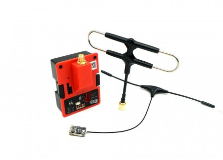 FrSky R9M 2019 module and R9 MM receiver with mounted Super 8 and T antenna