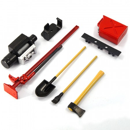 Yeah Racing 1/10 RC Rock Crawler Accessory Tool Set Axes Digging Shovel Oil Tank High Jack Winch Pry Bar (Red)