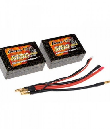 2S 5100mah LIPO 25C Saddle Deans